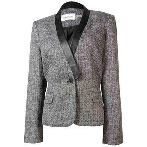 Calvin Klein Vegan Leather Collar Blazer Suit